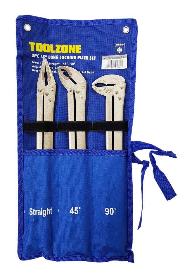 Toolzone 3Pc 15'' Long Locking Plier Set