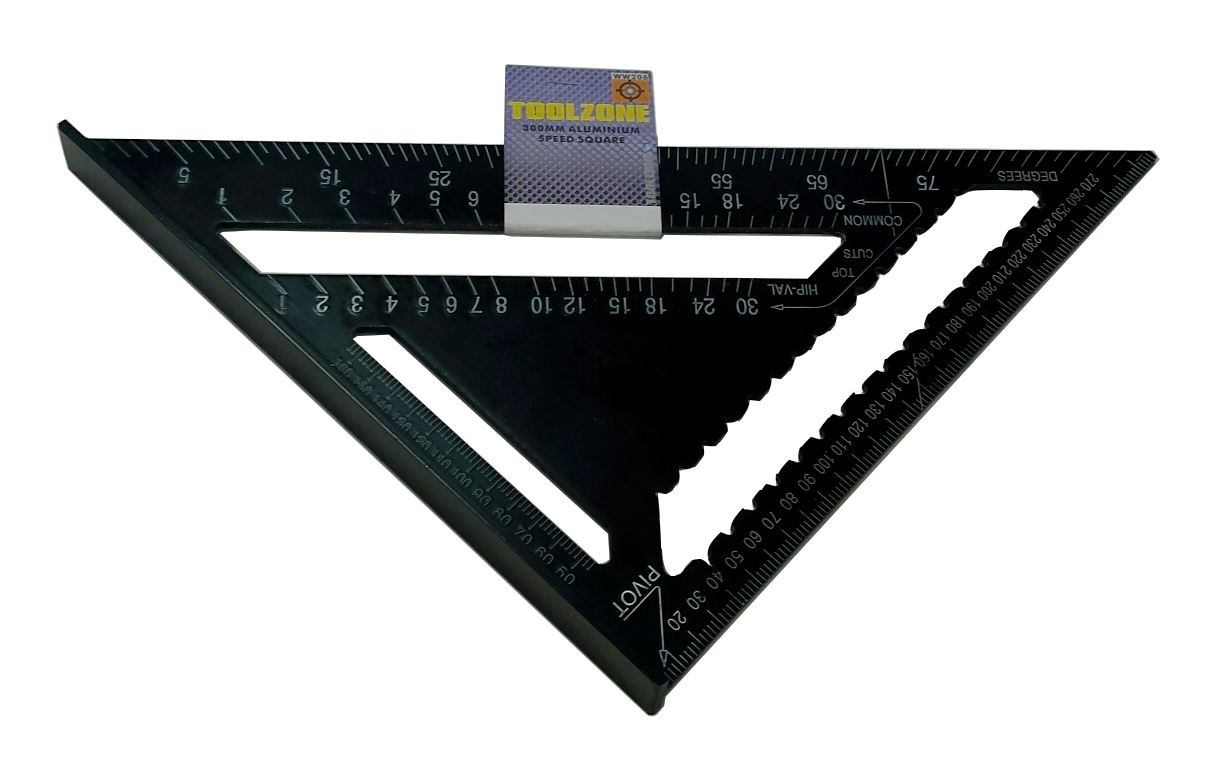"Toolzone 12"" Alum Speed Square Black"
