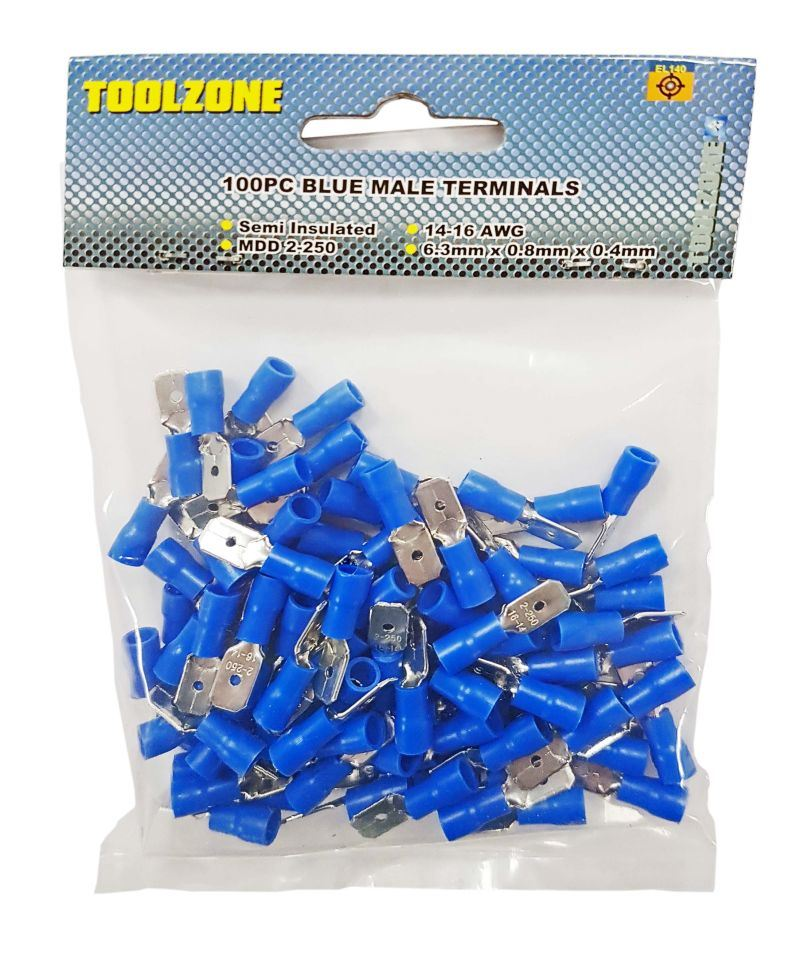 Toolzone 100Pc Blue Male Terminals