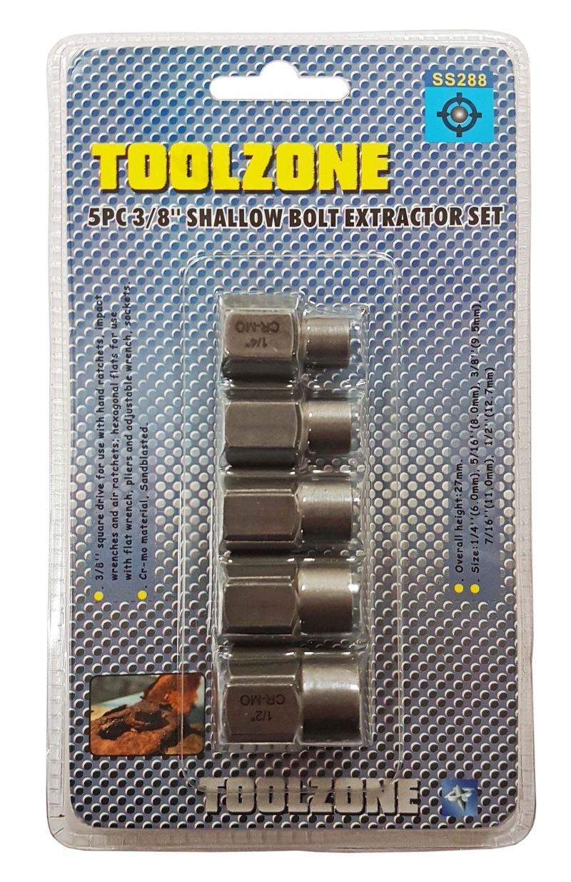 "Toolzone 5Pc 3/8"" Dr.Shallow Bolt Extractor Se"